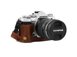 megagear mg1865 ever ready genuine leather camera half case compatible with olympus om-d e-m5 mark iii - brown
