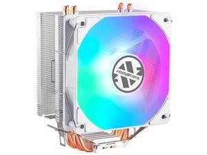 abkoncore led cpu cooler white ct405w, 120mm pwm quiet fan cpu air cooler with hydro bearing and anti-vibration pads, 4 direct contact heatpipes, led cpu fan for intel lga1155/1156