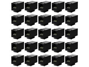 rj45 coupler cat6 keystone jack inline coupler female to female insert coupler 25 pack black