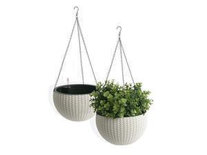 "algreen self watering wicker hanging planter (2 pack), 10"" diameter x 14"", white"