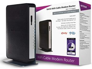 netgear n450 (8x4) wifi docsis 3.0 cable modem router (n450) certified for xfinity from comcast, spectrum, cox, cablevision & m