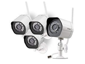 zmodo wireless security camera system (4 pack) smart hd outdoor wifi ip cameras with night vision - works with alexa
