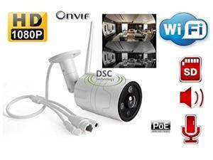 hd 1080p poe wireless security camera 180 degree fisheye outdoor bullet ip camera smart wifi cctv security camera with ir night