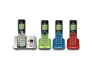 vtech cs6529-4b 4-handset dect 6.0 cordless phone with answering system and caller id, expandable up to 5 handsets, wall-mounta