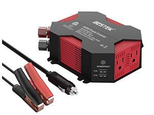 bestek 400w/500w car power inverter dc 12v to ac 110v car inverter with 4 usb charging ports, power converter with 2 ac outlets