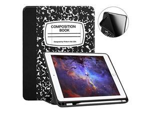 fintie ipad 9.7 2018 case with built-in apple pencil holder - [slimshell] lightweight soft tpu back protective cover w/auto wak