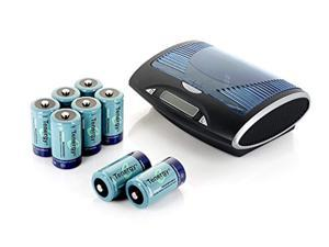 tenergy t9688 universal lcd battery charger + 8 d size 10000mah nimh rechargeable batteries