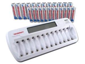 combo: tn160 12-bay aa/aaa nimh/nicd lcd charger + 12 aa & 12 aaa premium nimh rechargeable batteries