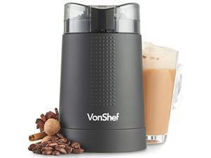 vonshef 220 volt coffee grinder -whole bean nut spice blender - matte black - bundle with dynastar plug adapter 220-240 volt (n