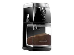 chefman coffee grinder electric burr mill freshly 8oz beans large hopper & 17 grinding options for 2-12 cups, easy one touch op