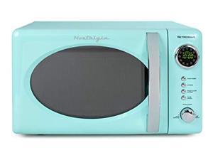 nostalgia rmo7aq retro 0.7 cubic foot 700watt countertop microwave oven aqua