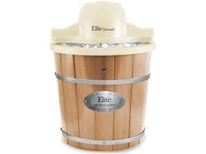 elite gourmet eim-924l old fashioned vintage appalachian wood bucket electric maker machine with leak-proof liner, uses rock sa