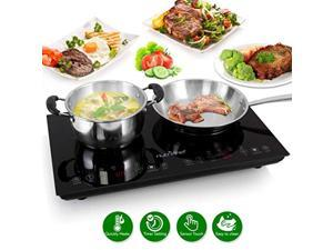 double induction cooktop - portable 120v portable digital ceramic dual burner w/ kids safety lock - works with flat cast iron p
