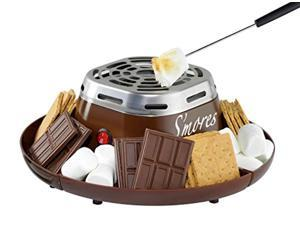 nostalgia smm200 indoor electric stainless steel s'mores maker with 4 compartment trays for graham crackers, chocolate, marshma