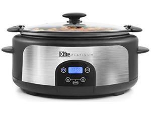 elite platinum mst-610dt digital programmable slow cooker with locking lid, nonstick oval pot delay timer, 3 temperature, 8 pre
