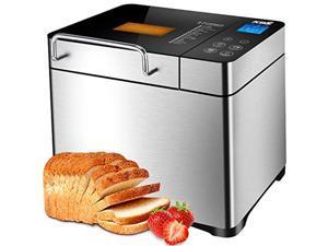 kbs stainless steel bread machine,1500w 2lb 17-in-1 programmable xl bread maker with fruit nut dispenser, nonstick ceramic pan&