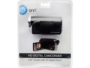 onn hd camcorder video camera with 1.44-inch screen, 2x digital zoom, 720p hd (up to 1280 x 720 resolution). includes video edi