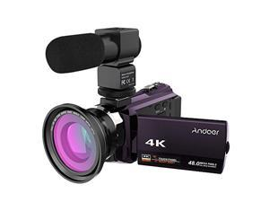 andoer 4k 1080p 48mp wifi digital video camera camcorder recorder with 0.39x wide angle macro lens 3inch capacitive touchscreen