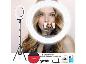 """zomei ring light 16"""" led ring light bi-color dimmable photography filling light continuous lighting with tripod and phone holde"""
