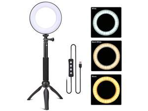 zomei 6'' dimmable led photography ring light for youtube/live streaming/makeup with selfie stick, mini tripod