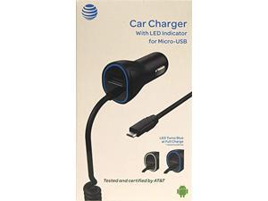 AT&T 4899G Black 3.4A Single USB and Corded Micro USB Car Charger