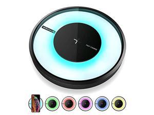 wireless charger, nillkin qi-certified fast wireless charging pad 7.5w[colorful led light] compatible with iphone 11/11 pro/xs