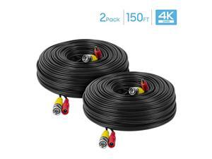Amcrest 2-Pack 4K Security Camera Cable 150FT BNC Cable, Camera Wire CCTV, Pre-Made All-in-One Video and Power Cable for Security Camera, HDCVI, HDTVI Camera, Analog, DVR (2PACK-SCABLE4K150B-PP)