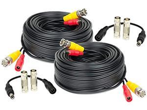amcrest security camera cable 60ft bnc cable, camera wire cctv, premade allinone video and power cable for security camera 960h, hdcvi camera, dvr, 2pack scablehd60b2pack