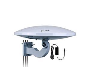 antop antenna pl-414bg outdoor amplified hd tv antenna ufo long range with built-in amplifier signal booster and 4g lte filter,