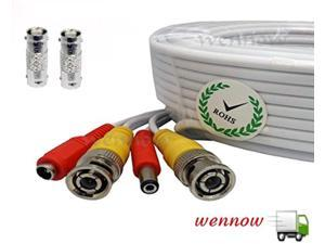 wennow all-in-one pre-made bnc video and power extension bnc male to male cable with 2 free bnc coupler connectors for cctv sur