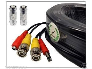 black, 25ft wennow all-in-one pre-made bnc video and power extension bnc male to male cable with 2 free bnc coupler connectors