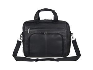 """kenneth cole reaction reaction manhattan colombian leather expandable rfid 15.6"""" laptop business briefcase bag, black"""