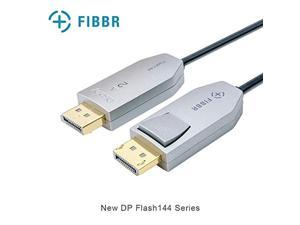 fibbr dp cable, fiber optic displayport cable support 32.4 gbps, 8k@60hz, 4k@144hz, male to male audio video dp 1.4 cable slim