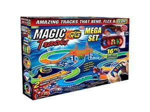 ontel magic tracks mega rc with 2 remote control turbo race cars and 16 ft of flexible, bendable glow in the dark racetrack, as
