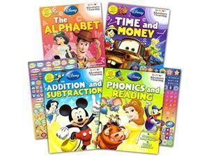 disney workbooks super set kindergarten first grade -- 4 workbooks with reward stickers (disney alphabet writing, reading, addi