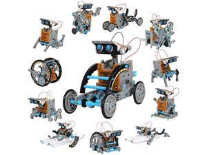 discovery kids mindblown stem 12-in-1 solar robot creation 190-piece kit with working solar powered motorized engine and gears,