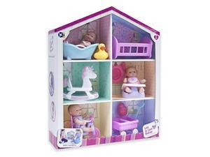"jc toys lots to love babies - with 3 5"" vinyl dolls, 6 accessories, & reusable box playhouse gift set"