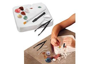 discovery kids gemstone excavation kit, chalk exploration block holds 6 semi precious minerals/crystals, tool set includes chis