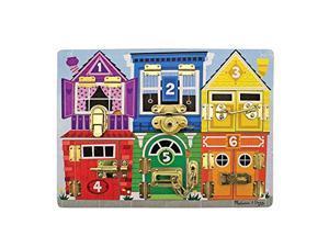 melissa & doug wooden latches board (developmental toy, sturdy wooden construction, helps develop fine motor skills, great gift