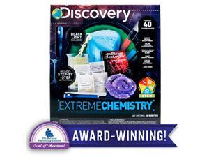 discovery extreme chemistry stem science kit by horizon group usa, 40 fun experiments, make your own crystals, diy glowing slim