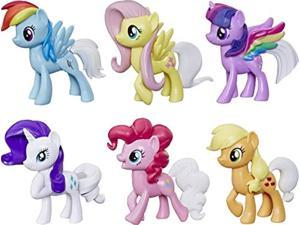 my little pony toy rainbow tail surprise -- collection pack of 6 3-inch pony figures with color-change features, kids ages 3 ye