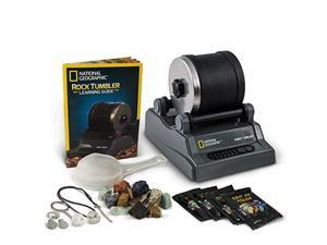 national geographic hobby rock tumbler kit - includes rough gemstones, 4 polishing grits, jewelry fastenings and detailed learn