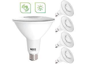 sunco lighting 4 pack par38 led bulb, dusk-to-dawn + radar motion, 13w=100w, 5000k daylight, 1050 lm, indoor/outdoor, photocell