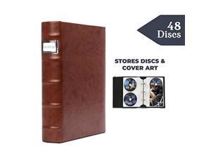 bellagio-italia corona caffe dvd storage binder - stores up to 48 dvds, cds, or blu-rays - stores dvd cover art - acid-free she
