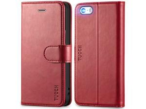 iPhone SE 2016 Case, iPhone 5S Case, TUCCH iPhone 5 Wallet Case, [Lifetime Warranty][TPU Inner Shell] [Card Slots] [Magnetic Close] [Kickstand] PU Leather Flip Case Compatible with iPhone SE 2016/5S/5