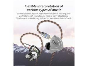 CCA C10 InEar Headphones IEM Earbuds 4BA 1DD Hybrid Drivers, 5 Drivers Hifi InEar Monitors High Resolution Earphones(Black no mic)
