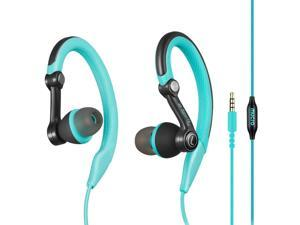 Running Headphones Over Ear in Ear Sport Earbuds Earhook Wired Stereo Workout Ear Buds for Jogging Gym for iPhone iPod Samsung (Blue)