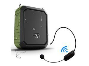Portable Bluetooth Waterproof Voice Amplifier Wireless Headset Microphone Small Personal Voice Amplifier 18W 4400mAh Rechargeable Wearable Mic System for Teachers or Outdoors