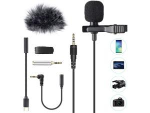 AGPTEK Lavalier Lapel Microphone 3.5mm, Professional Omnidirectional Condenser Mic with 3 Kinds of Adapters and Wind Muff, Clip-on Mini Microphone, Perfect for Camera, DSLR, iPhone, Android, PC