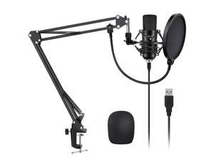 YOTTO USB Microphone Kit 192KHZ/24BIT Plug & Play Computer PC Microphone Studio Streaming Cardioid Mic with Boom Arm Shock Mount Pop Filter for Recording Broadcasting YouTube Gaming Voice